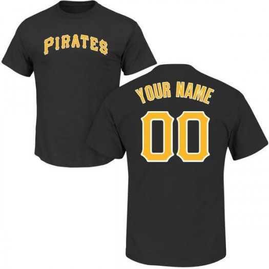 Custom Pittsburgh Pirates Men's Black Roster Name & Number T-Shirt -