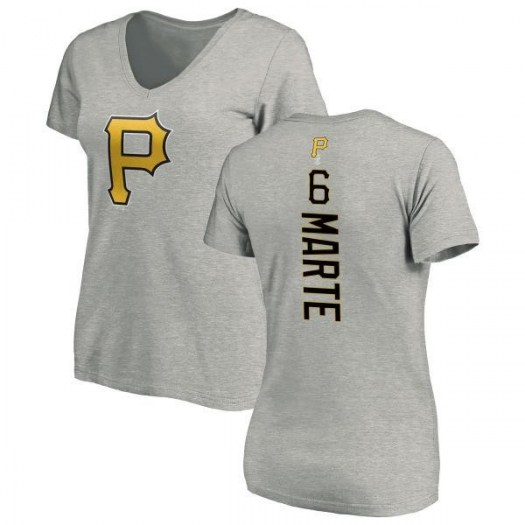 Starling Marte Pittsburgh Pirates Women's Backer Slim Fit T-Shirt - Ash